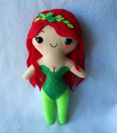 Poison Ivy plush is sweet venom - This crafty girl makes adorable felt… Knitted Dolls, Plush Dolls, Crochet Toys, Felt Dolls, Poison Ivy Costumes, Craft Images, Geek Crafts, Soft Sculpture, Sculptures