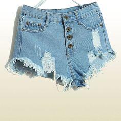 High Waisted Denim Shorts for Women  Stretch Denim by PIXYLEG