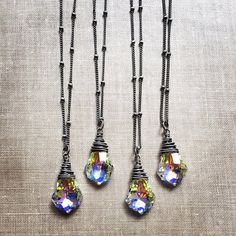 Swarovski Crystal Necklace Baroque Rainbow by karinagracejewelry