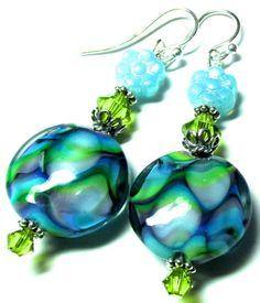 Lampwork Earrings Handmade Lampwork Beads SRA by SeeMyJewelry