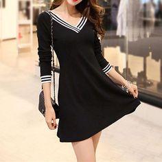 S-2XL Black Elegant Long Sleeve V-neck Dress SP164980