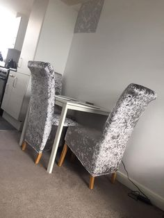 Silver Grey Crushed Velvet Chair Covers