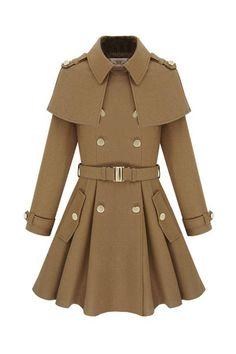 #romwe Cape-Style Shawl Epaulets Coat  $174.99