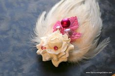 Ivory Rose Veil Comb and Fascinator with by SurroundingsOnline