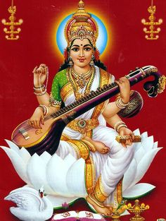 JB Khanna print of Hindu Goddess maa saraswati - goddess of knowledge,arts and music. 12 x 17 Saraswati Photo, Saraswati Mata, Saraswati Goddess, Durga Maa, Hanuman, Ayurveda, World Religions, Hindu Deities, God Pictures