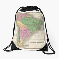 'vintage Map of South America' Drawstring Bag by ModernFaces Map Design, Iphone Wallet, Sell Your Art, Woven Fabric, South America, Drawstring Backpack, Weaving, Art Prints