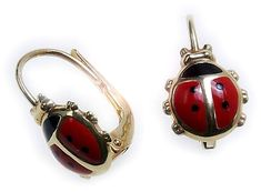 c13b9867a8c6 Children s Earrings Bouton Ladybirds 585 Yellow Gold Quality Hanging (eBay  Link) Los Niños Pendientes