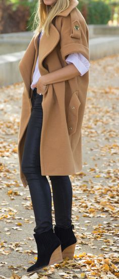 Oversized coat - Idea to update an old coat by shortening the sleeve. Good for…