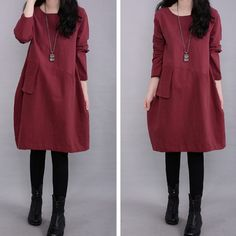 eaa3420a20cb Korean Style Fashionable Large Size Casual Loose Round Neck Long Sleeve  Women Cotton Linen Dress.