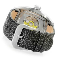 Invicta Men's Lupah Automatic Reptile Embossed Leather Strap Watch caseback
