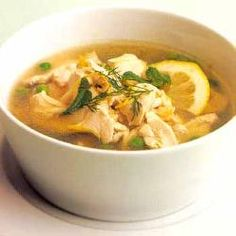 Chicken & orzo in broth