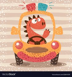 Cute dino drive funny car vector image on VectorStock Drawing For Kids, Painting For Kids, Art For Kids, Die Dinos Baby, Scrapbook Bebe, Baby Posters, Mural Wall Art, Dinosaur Birthday, Car Humor