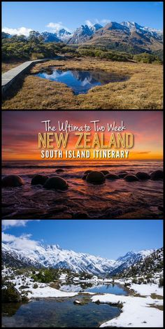 Travel tips New Zealand.This two week New Zealand South Island itinerary takes you to some of the country's top spots, including stunning white sand beaches, mountain hikes, historic towns and much more! New Zealand Itinerary, New Zealand Travel, Top Travel Destinations, Places To Travel, Holiday Destinations, New Zealand South Island, Nova, Travel Guides, Travel Tips