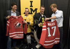 Prince Harry Photos - Prince Harry holds the #17 Wales hockey jersey up with Canadian Prime Minister Justin Trudeau as they meet with Invictus Games athletes after a sledge-hockey match Mattany at the Athletic Centre on May 2, 2016 in Toronto, Canada. Prince Harry is in Toronto for the Launch of the 2017 Toronto Invictus Games before heading down to Miami and the 2016 Invictus Games in Orlando. - Prince Harry Launches The Invictus Games In Toronto