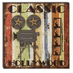 Found it at Wayfair - Wood and Metal Movie Wall Decor
