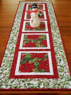 Christmas Table Runner and Topper Set in Traditional Red and Green, Poinsettias and Holly, Quilted Table Runner, Quilted Table Topper Xmas Table Runners, Quilted Table Runners Christmas, Patchwork Table Runner, Christmas Runner, Table Runner And Placemats, Table Runner Pattern, Christmas Decorations, Rug Runners, Christmas Placemats