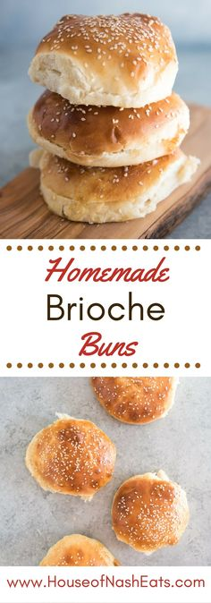 Golden homemade brioche hamburger buns topped with sesame seeds are perfect for…