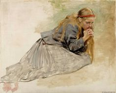 """Edelfelt, Albert """"Mary Magdalene Kneeling, Study for the Christ and Mary Magdalene"""" 1890 Öljy kankaalle Height 91,00 cm Width 112,00 cm Ateneum Art Museum"""