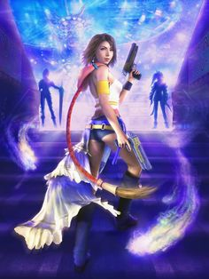 Yuna - Final Fantasy Gunner, with Rikku and Paine in the background. Yuna Final Fantasy, Final Fantasy Girls, Final Fantasy Artwork, Final Fantasy Characters, Fantasy Series, Fantasy Rpg, Fantasy World, Manga Anime, Anime Neko