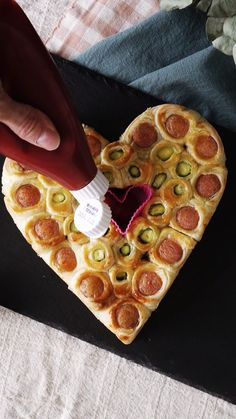 Heart-Shaped Sausage Asparagus Pie <br> You'll fall in love with this delicious shareable pastry. Yummy Food, Tasty, Snacks, Creative Food, Food Hacks, Appetizer Recipes, Appetizers, Food Videos, Love Food