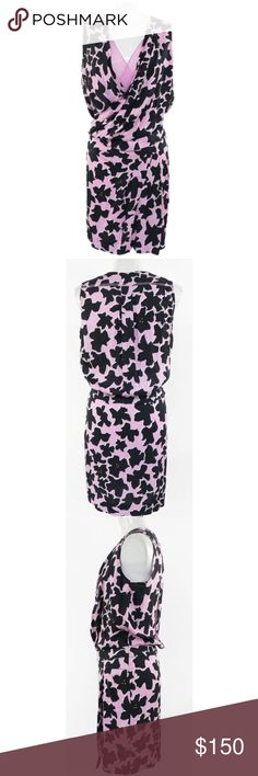 """DVF Daran Print Dress Daran Print Dress by Diane Von Furstenberg in Dove Bloom Pink. Size 8. Drop waist deep v neck with flattering ruching and draping throughout. Fabulous condition.  52"""" bust 34.5"""" waist 50"""" hips Diane Von Furstenberg Dresses"""