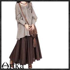 c11a2b0a2b26e  楽天市場  オリジナルデザイン 森ガール 秋冬にぴったりボリュームロングスカート:elaine fashion