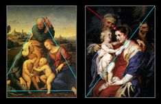 Dynamic Composition - Think of composition lines as coat hangers. The form on which the painting hangs. In this image, two paintings depict similar scenes. The one on the left (Raphael) uses a triangle for its composition. It conveys stability.The image on the right (Rubens)uses two diagonals for a dynamic composition. Lines create a triangular frame for the child. The main diagonal is reinforced by lines running parallel to it. Lines made by the legs, the arms the cloth,echo the main…