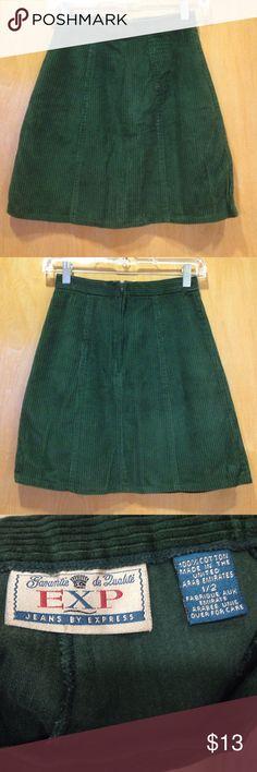 "EXPRESS Corduroy Mini-Skirt, Pine Green, Size 2 25"" Waist X 16"" Length. Back zip. 100% Cotton. Unlined. Express Skirts Mini"