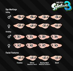 Various Splatoon drawings, original weapons and characters, as well as posters of the in-game brands. Splatoon Memes, Splatoon 2 Art, Splatoon Comics, Drawing Techniques, Drawing Tips, Character Prompts, Game Character, Character Design References, 3d Character