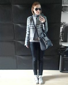 "95 Likes, 5 Comments - Gabriella Buzas (@epicstreetstyle) on Instagram: ""Layered up for the mini winter ❄ . ."" check tartan grey black monochrome minimal casual warm gap biker jacket converse trainers outfit ootd wiw black jeans"