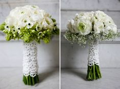 white flowers wrapped in lace ... wedding flower bouquet, bridal bouquet, wedding flowers, add pic source on comment and we will update it. www.myfloweraffair.com can create this beautiful wedding flower look.