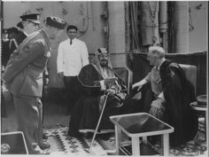 """FDR and Ibn Saud sit on the USS Quincy, discussing what would turn into the """"Quincy Pact"""" where Saudi Arabia gave the US an oil exploration/development monopoly in exchange for protection. 1945 via reddit"""
