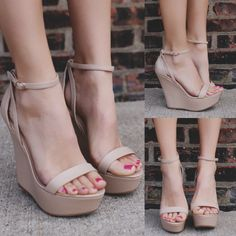 Natural Buckle Ankle Strap Platform Wedge VIVI-41B