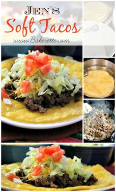 Jen's ground beef (or chicken) soft taco recipe with homemade taco seasoning. Bakerette.com