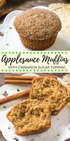 These moist applesauce muffins have a delicious apple cinnamon flavor and are sweetened with applesauce. Theyre the perfect easy muffin recipe and the cinnamon sugar topping makes them extra drool-worthy. - Muffins - Ideas of Muffins Easy Apple Muffins, Applesauce Muffins, Baking With Applesauce, Healthy Muffins For Kids, Cinnamon Sugar Muffins, Cookies With Applesauce, Applesauce Recipes Easy, Apple Zucchini Muffins, Easy Breakfast Muffins