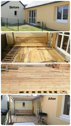 Before and After {Pallet Deck Construction under Gazebo} | 101 Pallet Ideas