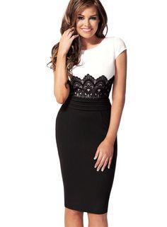 Miusol Rundhals Kontrast -Taille mit gesticktem Lace Spitzen kleid Bodycon Party Pecil Kleid Casual Stretch Cocktail Gr.36-50 (S/36/38, Schwarz): Amazon.de: Bekleidung