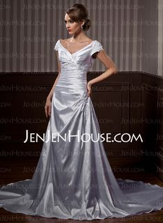 Wedding Dresses - $186.59 - A-Line/Princess V-neck Chapel Train Satin Wedding Dresses With Ruffle Lace Beadwork (002011663) http://jenjenhouse.com/A-Line-Princess-V-Neck-Chapel-Train-Satin-Wedding-Dresses-With-Ruffle-Lace-Beadwork-002011663-g11663