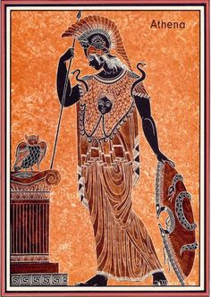 This a picture of athena the goddess of war and domestic life and crafts. Although she is most known as a greek goddess she predates greek mythology with origins dating back as an ancient libyan goddess correlating to the cult of the great mother. Ancient Greek Art, Ancient Greece, Ancient History, Art History, Greece Mythology, Greek And Roman Mythology, Greek Gods, Greek Paintings, Greece Art