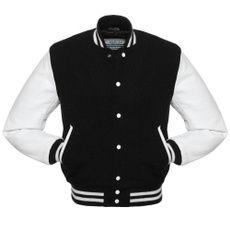 Custom Varsity Jackets, Leather Varsity Jackets, Leather Vest, White Leather, Leather Sleeves, Real Leather, Leather Outfits, Lambskin Leather, Black Letterman Jacket