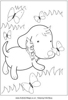 Puppy and butterflies colouring page