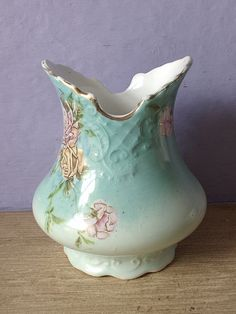 antique victorian vase pink yellow roses vase by ShoponSherman, $26.00