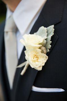 English Garden Rose boutonniere | Photography: Altura Studio - www.alturastudio.com/blog  Read More: http://www.stylemepretty.com/little-black-book-blog/2014/05/30/sunny-summer-garden-wedding/