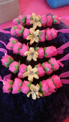 Artificial silk flower bangles for bridesmaids by bridal flower jewellery www.bridalflowerjewellery.weebly.com