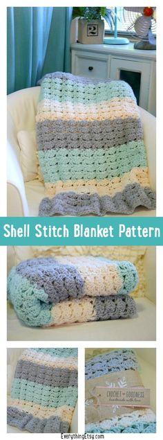 Crochet Shell Stitch Blanket Pattern Free Crochet Pattern - Easy Shell Stitch Blanket Pattern - the symbol for baptism!Free Crochet Pattern - Easy Shell Stitch Blanket Pattern - the symbol for baptism! Quick Crochet Patterns, Crochet Simple, Crochet Blanket Patterns, Baby Blanket Crochet, Crochet Blankets, Baby Blankets, Crochet Ideas, Toddler Blanket, Crochet Designs