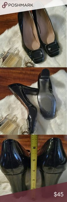 Tahari Heels Shiny black patent heels from fashion designer Tahari. Very comfortable 4 inch chunky heel  Size 11 Only worn once,  inside, unfortunately they are just a bit too big for me Slip guard on bottoms (can easily be removed) Pretty silver buckle on toes.  Easily spend the day wearing these in the office and then out to dinner.  You defiantly can look smashing and still be comfortable Tahari Shoes Heels