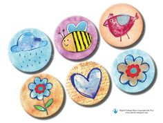Spring Creatures 1 inch circles. Watercolor Bottle caps by InkFive