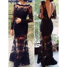 Sexy Round Collar Long Sleeve Backless See-Through Lace Women's Dress