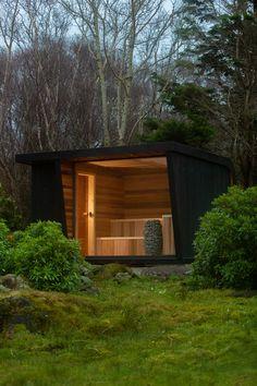Rustic Saunas, Mobile Sauna, Home Spa Room, Sauna House, Cedar Cladding, Sauna Design, Outdoor Sauna, Finnish Sauna, Porch Area