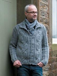 Morris cardigan for men, from Rowan Design Classics Online Collection, design by Martin Storey, #freeknittingpattern